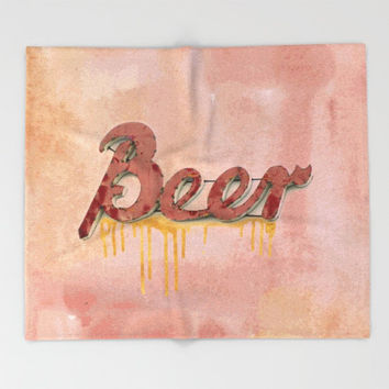 Beer Logo Sherpa Fleece Blanket, Gift for Him, Mancave, Beer Throw, Rustic Blanket, Beer Throw Blanket, Modern Decor, Rusty Pink Decor