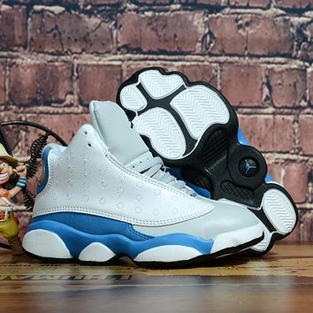 Kids Air Jordan 13 Retro White/Blue/Gray Sneaker Shoe Size US 11C-3Y