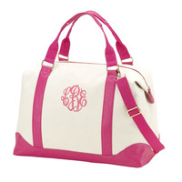 Personalized Monogrammed Pink Leather Like Canvas Weekender Duffle Bag