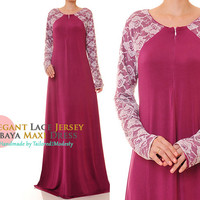 Floral Lace Front Zip Magenta Jersey Modest Maternity Abaya Long Sleeve Maxi Dress - Size M/L or Plus Size 1X/2X (6110 / 2936)