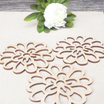 Wood Coasters Set of 4 - Coasters - Flower Design - Laser Cut Wood Coaster - Rustic Wedding Decor - Rustic Wooden Coaster