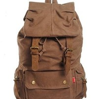 Jeansian Men's Womens Unisex Canvas BackPack School Bag Coffee BG004