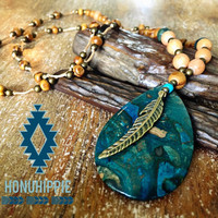 Blue Ghost's Eye Jasper feather necklace, boho hippie jewelry