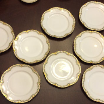 Antique 10 Haviland Clover Leaf Seven and a Half Inch Salad Plates Cloverleaf Pattern Limoges VERY GOOD CONDITION French France