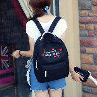 NEW fashion canvas letter embroidery backpack Harajuku ulzzang cute women's schoolbag men travel bag female shoulder bag mochila