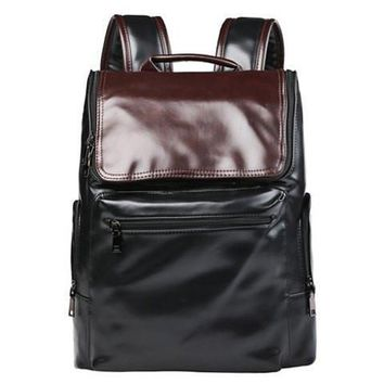 Preppy Style Men's Backpack With Color Block and Zip Design   Black