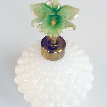 Irice Perfume Bottle Hobnail Milk Glass Hibiscus Flower Japan Vintage Vanity Accessory