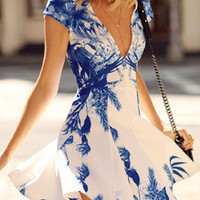 White Cap Sleeve V Neck Floral Print Dress