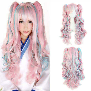 Lolita Wig Pink Blue Mixed Ombre Long Curly Clip-In Ponytails Full Bangs Cosplay Wig Party Wigs