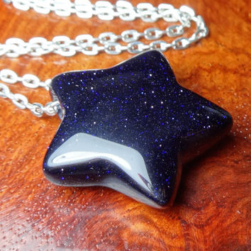 Star Necklace - Blue Goldstone Gemstone Carved Pendant (M13F) Polished Crystal Raw Stone Natural Stones Handmade Stars Gemstones Cute Charms