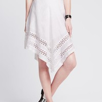 Banana Republic Womens Eyelet Hem Angled Skirt
