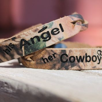 His Angel and Her Cowboy Braided REALTREE CAMO LEATHER Bracelet -set of two bracelets