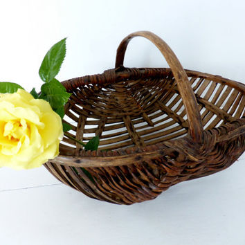 Antique French Wooden Collecting Basket