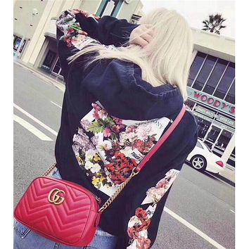 OFF WHITE Trending Women Men Stylish Flower Print Long Sleeve Hoodie Sweater Pullover Top Sweatshirt Black