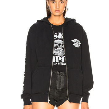 LOCAL AUTHORITY for FWRD Trippin' Zip Hoodie in Black Tie Dye | FWRD