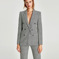 CHECKED DOUBLE-BREASTED JACKET DETAILS