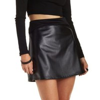 Black Piped Faux Leather Mini Skirt by Charlotte Russe