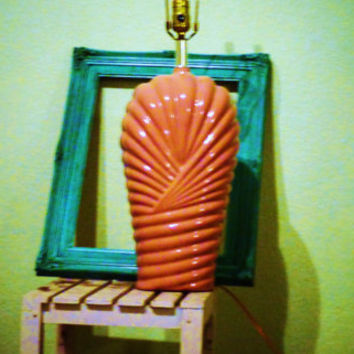Coral LAMP Vintage 80s eighties Muted Pink large decorative  ceramic table lamp with harp