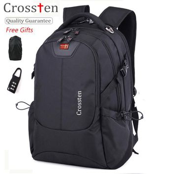 "Crossten Swiss Army Multifunctional USB Cable Laptop Bag 16"" Laptop Backpack Versatile schoolbag Travel Bag Rucksack with gifts"
