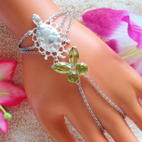 Silver Turtle Slave Bracelet Ring, Hand Chain, Turtle Jewelry