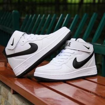 NIKE Women Men Running Sport Casual Shoes Sneakers Air force Hight tops Full color White Black hook