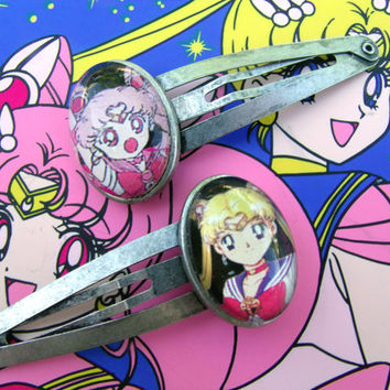 Sailor Moon Cameo Hair Barrette Clips by hobbittownjewelry on Etsy