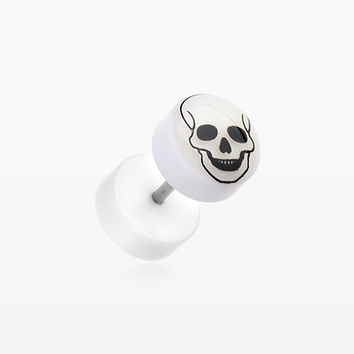 A Pair of Glow in the Dark Death Skull Acrylic Fake Plug