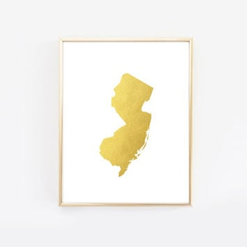 New Jersey State Gold Foil Art Print