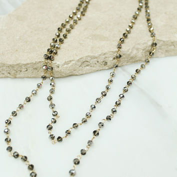 Layered Silver Glass Beaded Necklace