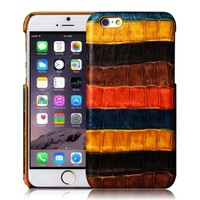 iVAPO iPhone 6 case, [Imported Cowhide] Genuine Leather Cover, iPhone 6 4.7inch Back Cover, Rainbow Fashion Case For iPhone 6 4.7inch (MM531) (Orange-Brown)
