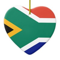 South Africa flag Double-Sided Heart Ceramic Christmas Ornament