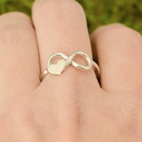 St Patricks Day Sale Heart Infinity Ring - Infinity Ring - Silver Infinity Ring - Handmade Heart Ring - Heart Jewelry - Silver Ring