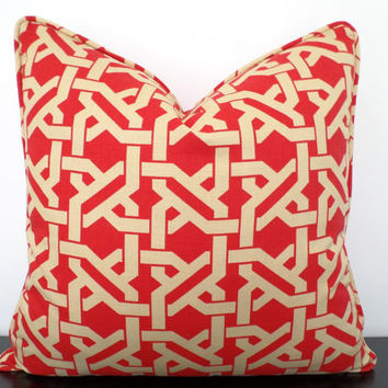 Red trellis pillow cover 18x18, decorative pillow for couch, red and beige cushion, red accent pillow with piping, geometric cushion
