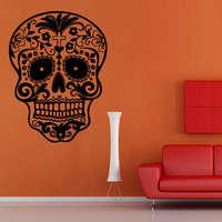 Wall decal decor decals art Sugar Skull sticker graphics emo goth gothic metal gift (m712)