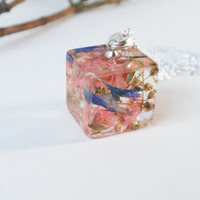 Real Flower Resin Necklace, Cube Resin Necklace,  Real Flower Encased in Resin,  Botanical Pendant, Pressed flowers