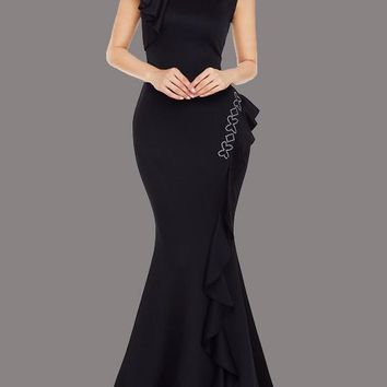Black Ruffle Rhinestone Mermaid Prom Evening Party Maxi Dress