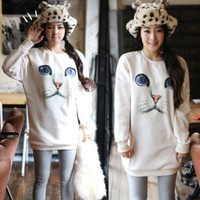 Cute Womens Crewneck Cat Face Printed Blouse Thick Warm Knit Sweater Tops Shirt