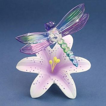 Glass Baron Dragonfly And Lavender Lily Glass Figurine