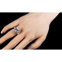 A Perfect 6CT Pear Cut Russian Lab Diamond Engagement Ring