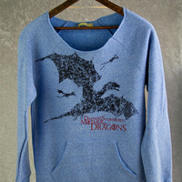 MOTHER OF DRAGONS Maniac Sweatshirt. Daenerys Stormborn Targaryen Khaleesi Game of Thrones. Off the Shoulder Fleece Baby Blue Sweater