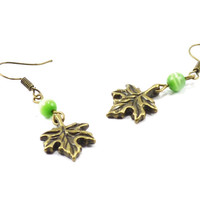 Leaf green bronze crystal women earrings
