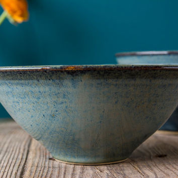 Ceramic Decorative Blue Bowl / Hostess Gifts / Stonewear Bowl / Serving Dish
