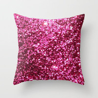 Pink Glitter Gifts Throw Pillow by productoslocos | Society6