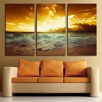 Yellow Sea Landscape  Canvas painting 3 piece For living  Wall Painting Home Decor Canvas Picture wall art canvas prints beach