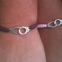 His and Hers Matching Handcuffs Bracelets Couples Bracelets Friendship Bracelets You Choose Color