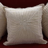 HANDMADE CROCHET CUSHION Cover -  PineEye Vintage Design- Cotton - Premium Home Decor - Natural and White Color