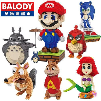 Balody Mini Blocks Big Size Mario DIY Building Toys Large One Piece Bricks Cute Auction Juguetes for Kids Toys 16001-16009