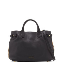 Leather & Check Canvas Tote Bag, Black - Burberry