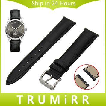 Quick Release Watch Band 18mm 20mm 22mm for Hamilton Michel Herbelin Croco Genuine Leather Strap Wrist Belt Bracelet Black Brown