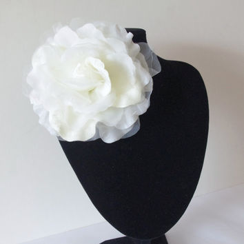 Large Organza Flower Brooch, IVORY, Sash Flower, Headpiece, Dress accessories